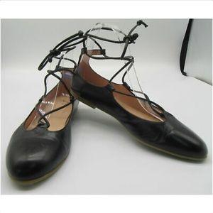 FS/NY Black Leather Lace Up Ballet Flats Size 7.5